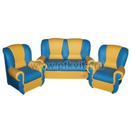 бусинка комплект детской мягкой мебели голубо желтый