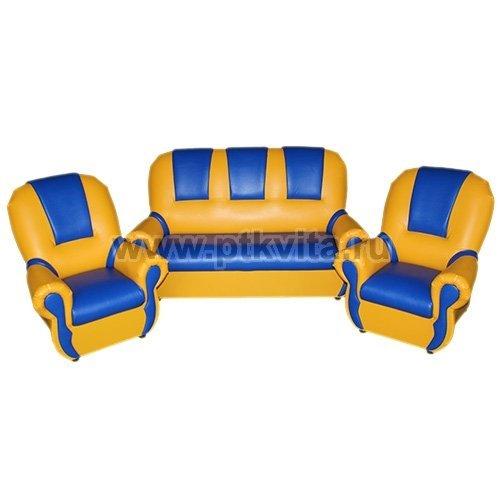 добрый гном люкс комплект детской мягкой мебели желто синий